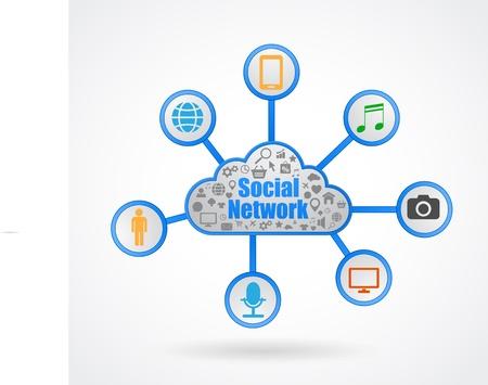 social media network cloud Stock Vector - 21507116