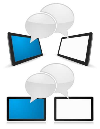 tablet pc 3d with speech bubble Stock Vector - 21507117