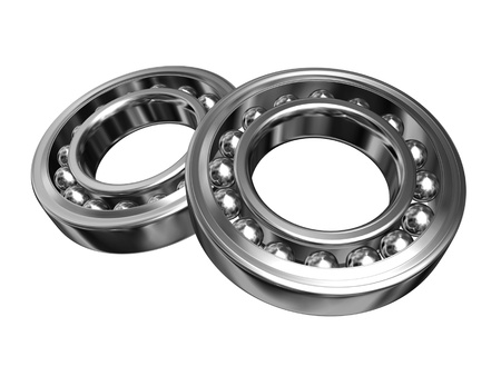 chromium plated: 3d two steel rollers isolated on white