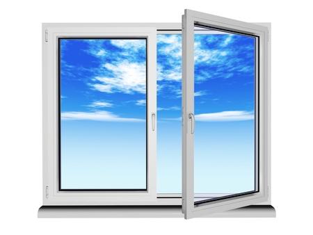 ventana abierta: dos capas y dos ventanas de plástico marco con el cielo azul - aislados en blanco