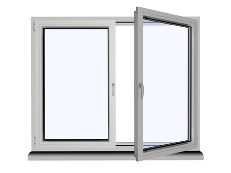half open: two layers and two frame plastic window with opened one frame - isolated on white