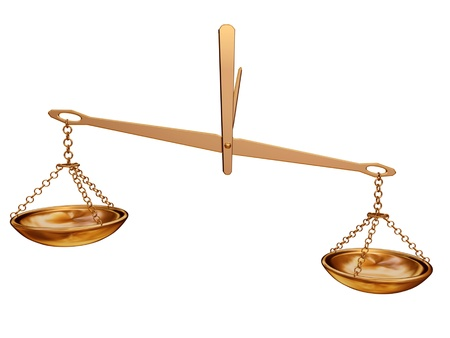 golden balance scale isolated on white