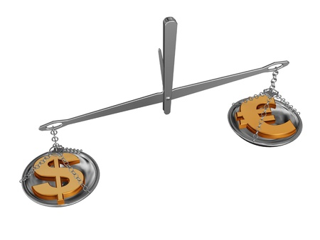 outweigh: chrome balance with dollar and euro money symbols Stock Photo
