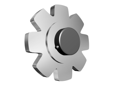 chrome gear with cilinder Stock Photo