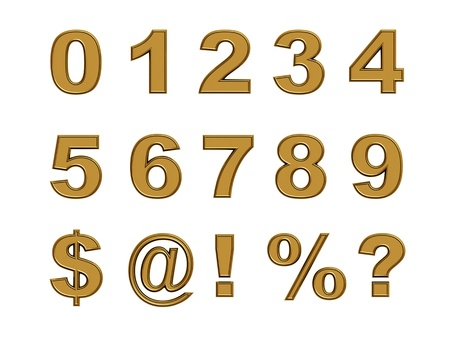 set of gold numbers and symbols isolated on white