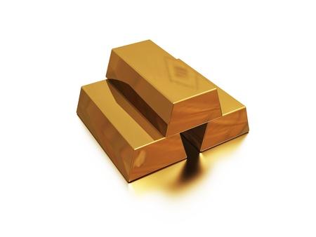 goldbars: golden bars on white and reflected