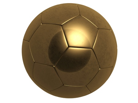 metal legs: gold foot ball isolated on white