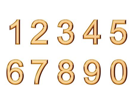 set gouden nummers op wit wordt geïsoleerd Stockfoto