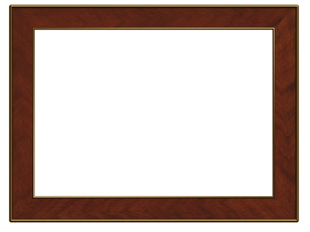 golden and wooden frame isolated on white photo