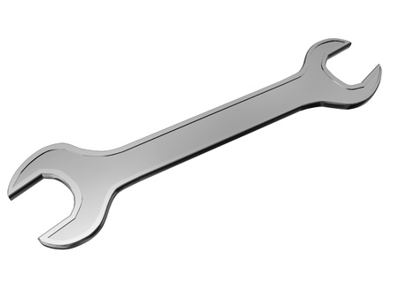 steel spanner isolated on white photo