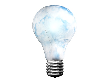 shining light: shining light bulb with clouds isolated on white