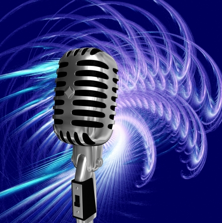 cilinder: retro microphone on abstract background