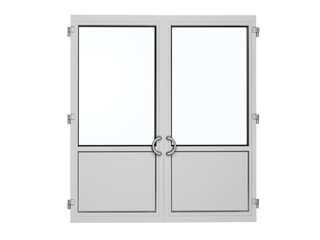 glass door: two frame plastic door isolated on white