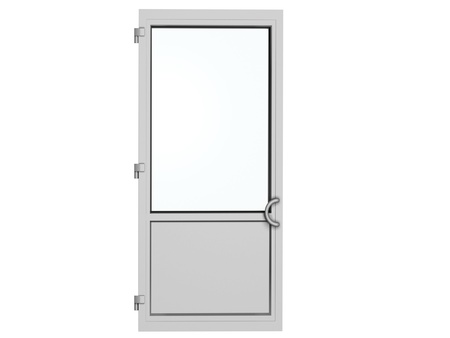 one frame metal-plastic door isolated on white photo