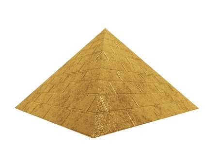 gold pyramid isolated on white photo