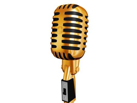 cilinder: oro retr� microfono isolato su bianco