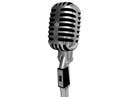 cilinder: retro microphone isolated on white background Stock Photo