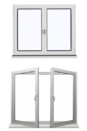 redecoration: two frame open plastic window isolated on white