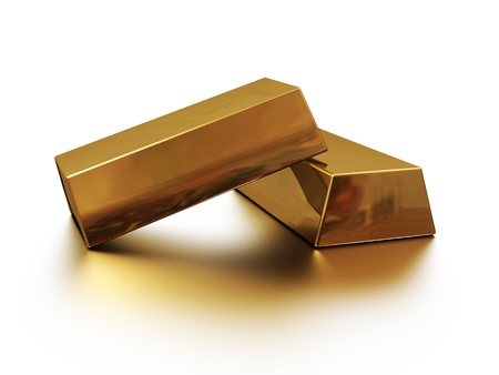 gold standard: two gold bars with reflection