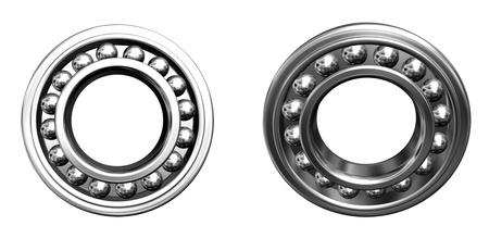 chromium plated: two jointed ball bearings - front projection Stock Photo