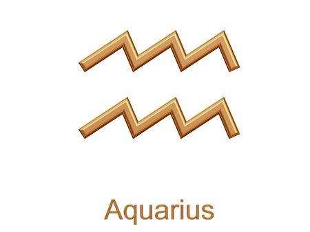 aguarius - gouden astrologische dierenriem symbool geïsoleerd op wit Stockfoto