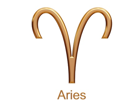 archer fish: aries - golden astrological zodiac symbol isolated on white