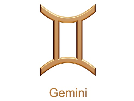 gemini - golden astrological zodiac symbol isolated on white Stock Photo - 21507276