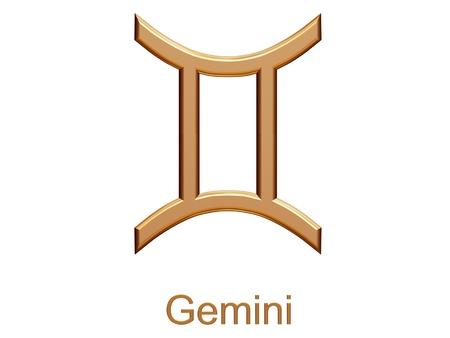 future twin: gemini - golden astrological zodiac symbol isolated on white
