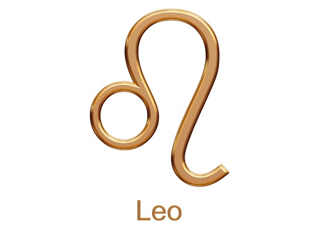 leo - golden astrological zodiac symbol isolated on white
