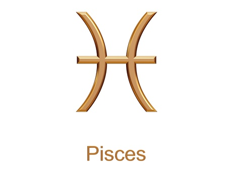 archer fish: pisces - golden astrological zodiac symbol isolated on white