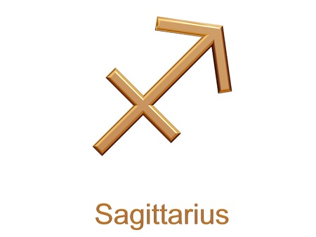 archer fish: sagittarius - golden astrological zodiac symbol isolated on white