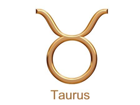 taurus sign: taurus - golden astrological zodiac symbol isolated on white Stock Photo