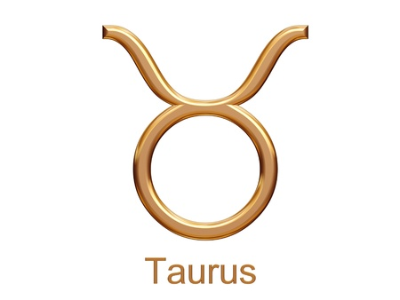 taurus - golden astrological zodiac symbol isolated on white Stok Fotoğraf