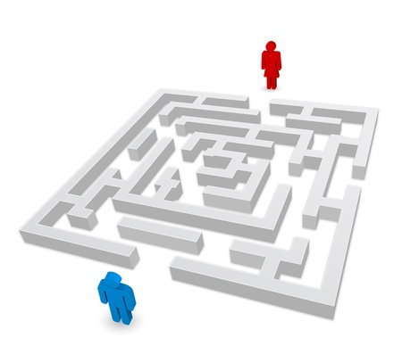 maze puzzle: maze - labyrinth person man and woman icon