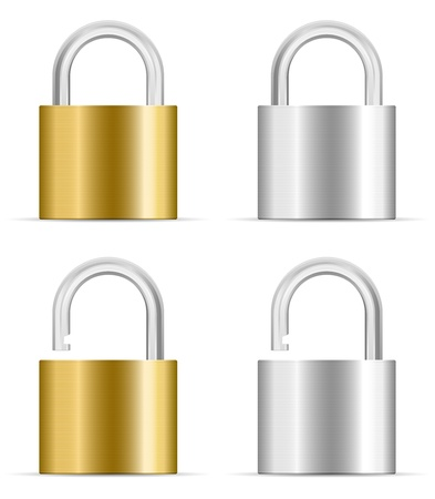 lock: metal padlock icon set Illustration