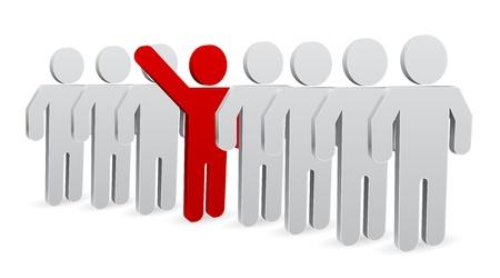 3d manager: person 3d icon - teamwork leader concept Illustration