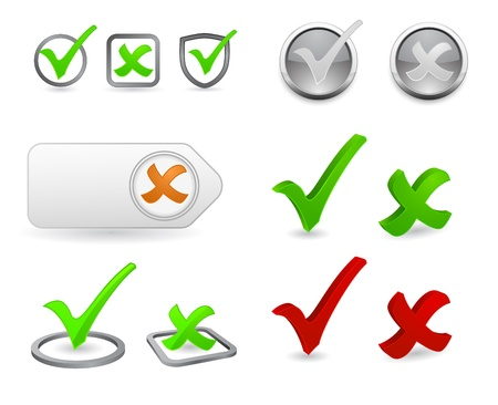 to tick: marca de verificación 3d icon set
