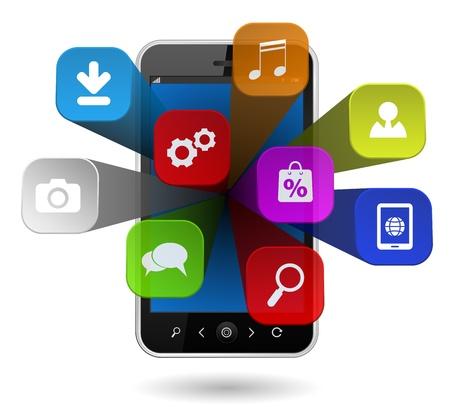 mobile sms: smartphone computing cloud apps 3d Illustration