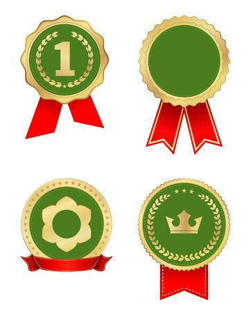 award label gold green with ribbon Vector