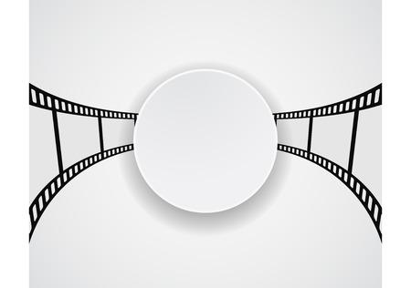 rollo pelicula: tira de película de rollo de película diseño de la bandera redonda