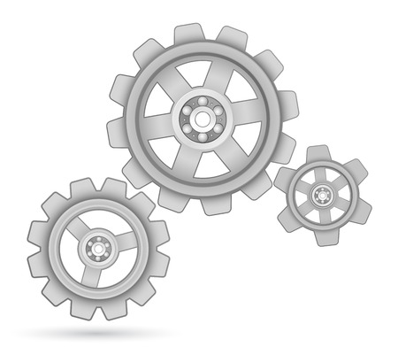 cogs and gears: gears cogs with bearing design background Illustration