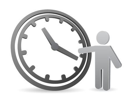 clock icon with 3d person concept
