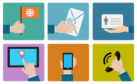 contact person: contact us flat icon design Illustration