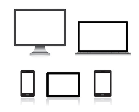 computer, smartphone, tablet pc, notebook - gadgets icon set Çizim