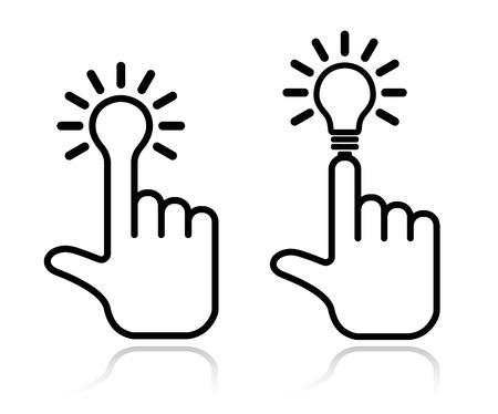hand lightbulb icon design element