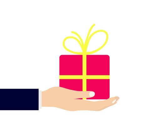 present box: hand with gift icon Illustration
