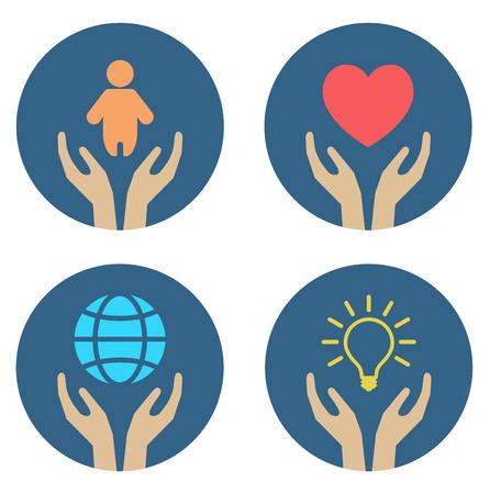 handen ondersteunen kind hart globe en gloeilamp - conceptueel pictogram set Stock Illustratie