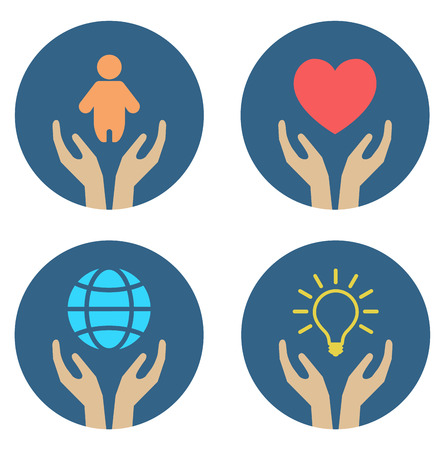 hands supporting child heart globe and lightbulb - conceptual icon set Çizim