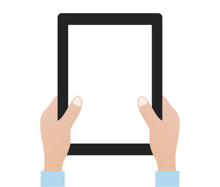 hands holding tablet computer design