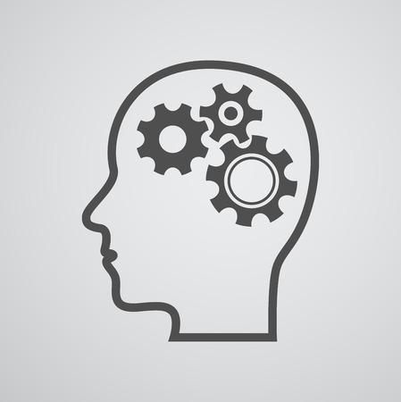 gear head: head gear brain background - concept